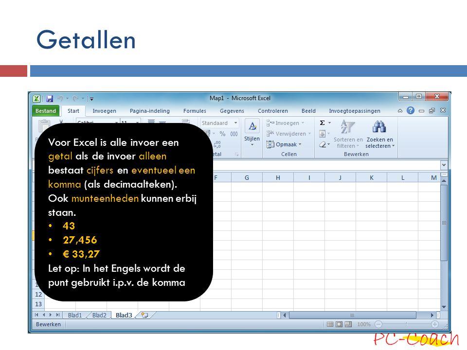 Getallen Voor Excel is alle invoer een getal als de invoer alleen bestaat cijfers en eventueel een komma (als decimaalteken).