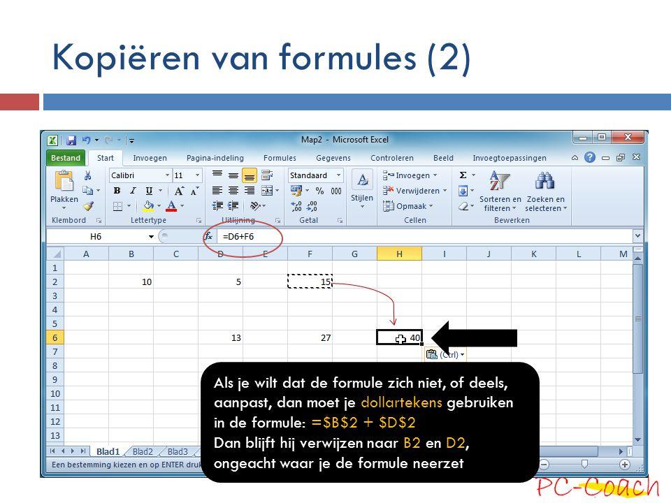 Kopiëren van formules (2)