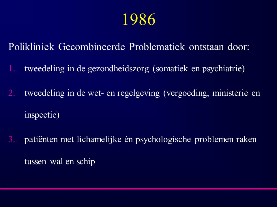 1986 Polikliniek Gecombineerde Problematiek ontstaan door: