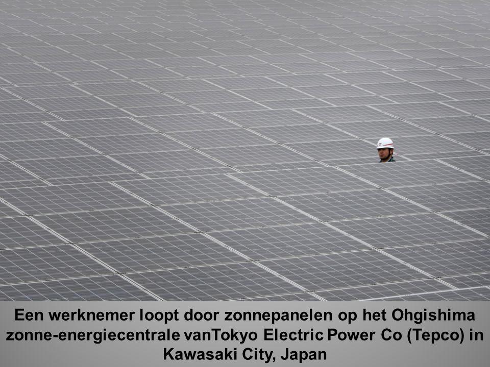 Een werknemer loopt door zonnepanelen op het Ohgishima zonne-energiecentrale vanTokyo Electric Power Co (Tepco) in Kawasaki City, Japan