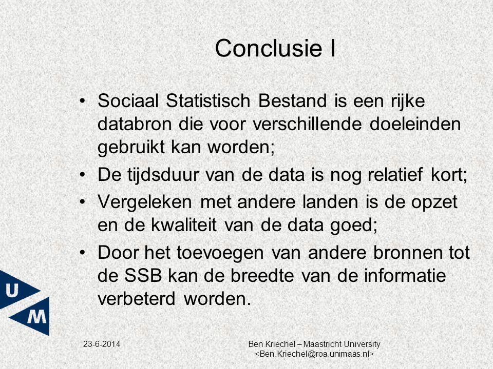Conclusie I Sociaal Statistisch Bestand is een rijke databron die voor verschillende doeleinden gebruikt kan worden;