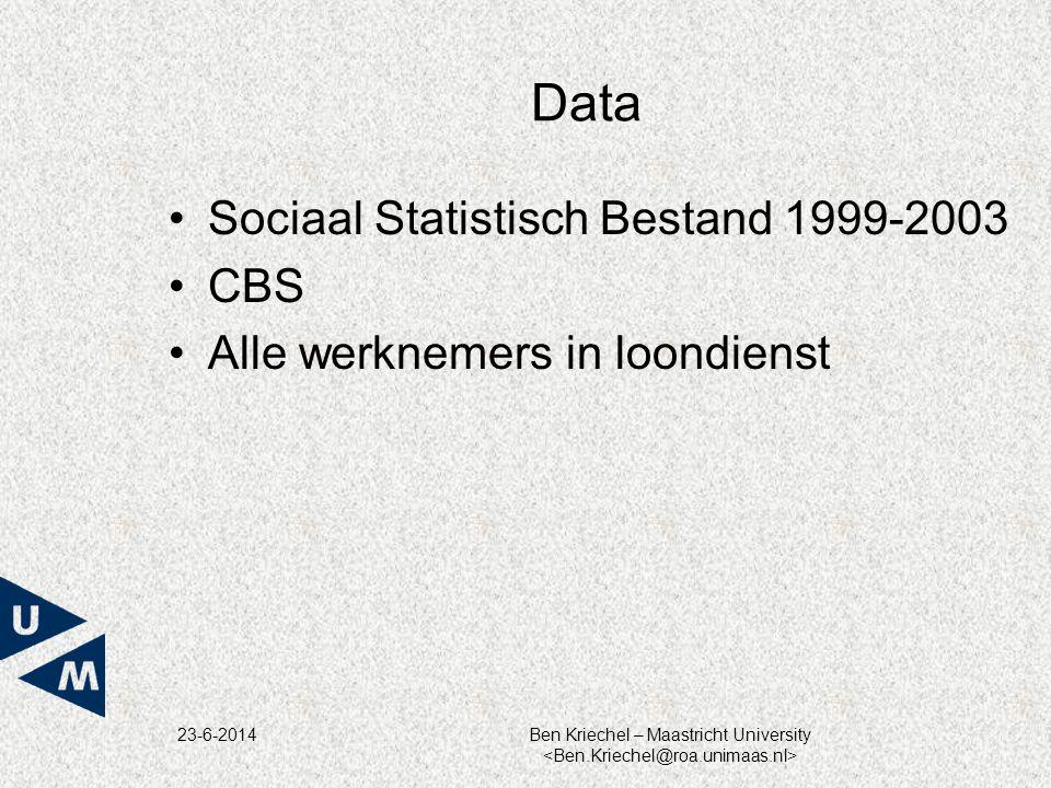 Data Sociaal Statistisch Bestand 1999-2003 CBS