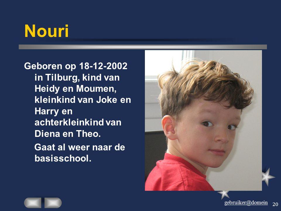 Nouri Geboren op 18-12-2002 in Tilburg, kind van Heidy en Moumen, kleinkind van Joke en Harry en achterkleinkind van Diena en Theo.