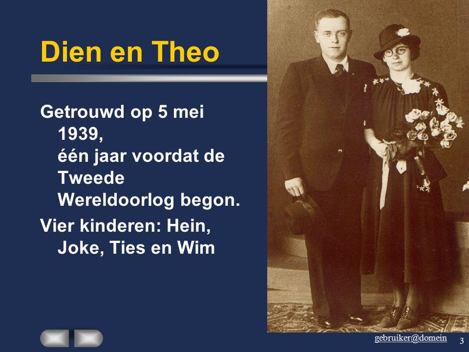 Dien en Theo Getrouwd op 5 mei 1939, één jaar voordat de Tweede Wereldoorlog begon.