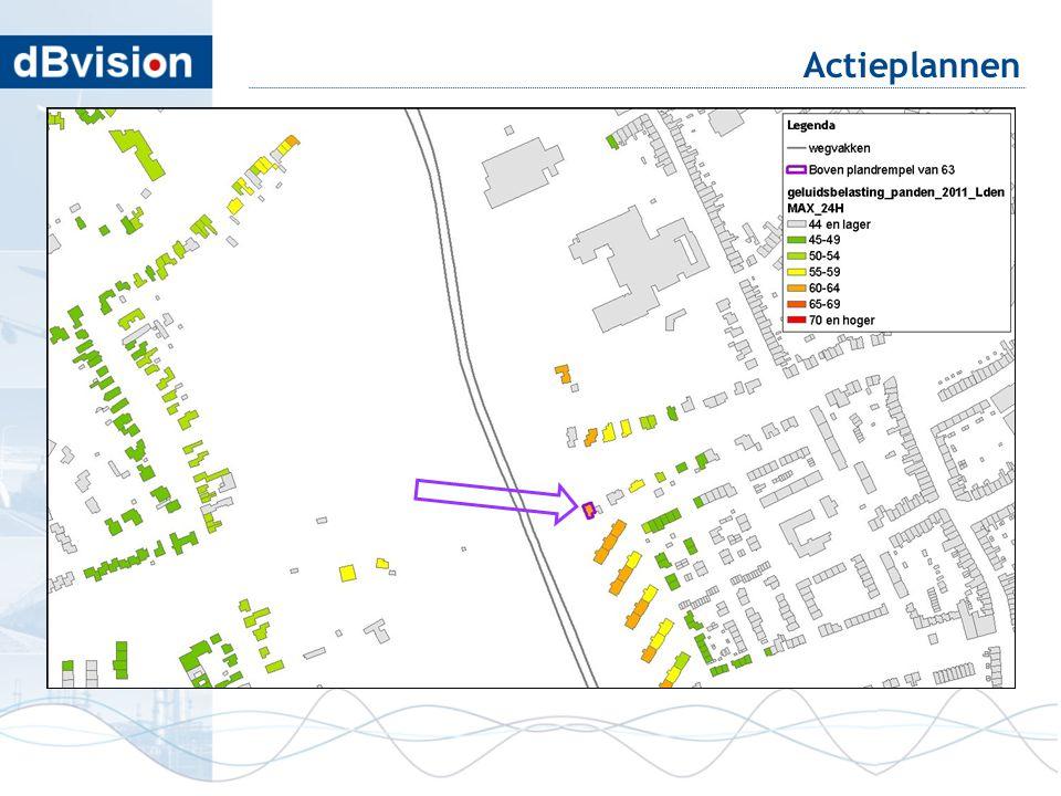 Actieplannen geluidkaart laat rijtje woningen zien met hoge belasting