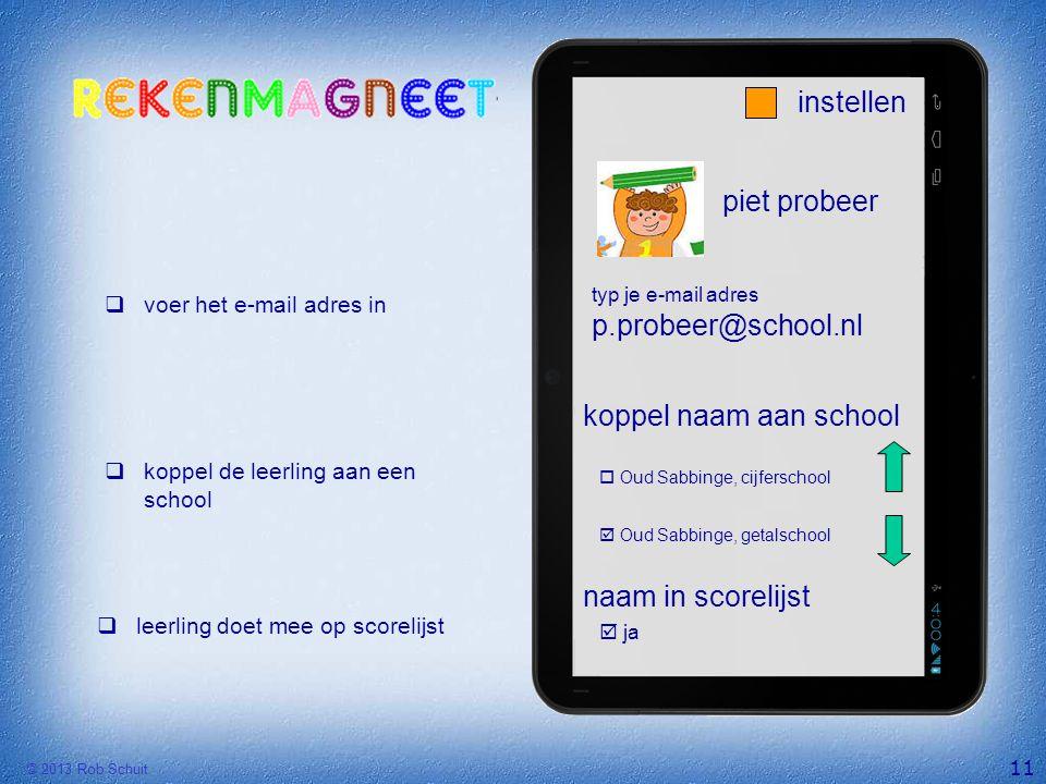 instellen piet probeer p.probeer@school.nl koppel naam aan school