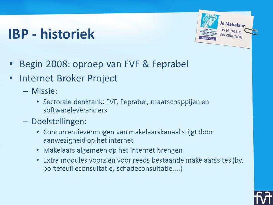IBP - historiek Begin 2008: oproep van FVF & Feprabel