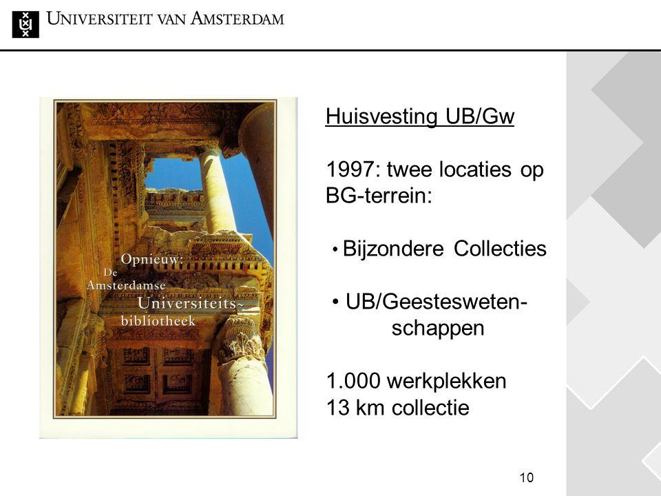 Huisvesting UB/Gw 1997: twee locaties op BG-terrein: • Bijzondere Collecties • UB/Geestesweten- schappen 1.000 werkplekken 13 km collectie