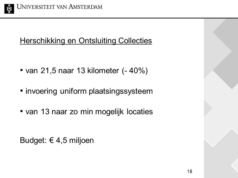 Herschikking en Ontsluiting Collecties • van 21,5 naar 13 kilometer (- 40%) • invoering uniform plaatsingssysteem • van 13 naar zo min mogelijk locaties Budget: € 4,5 miljoen
