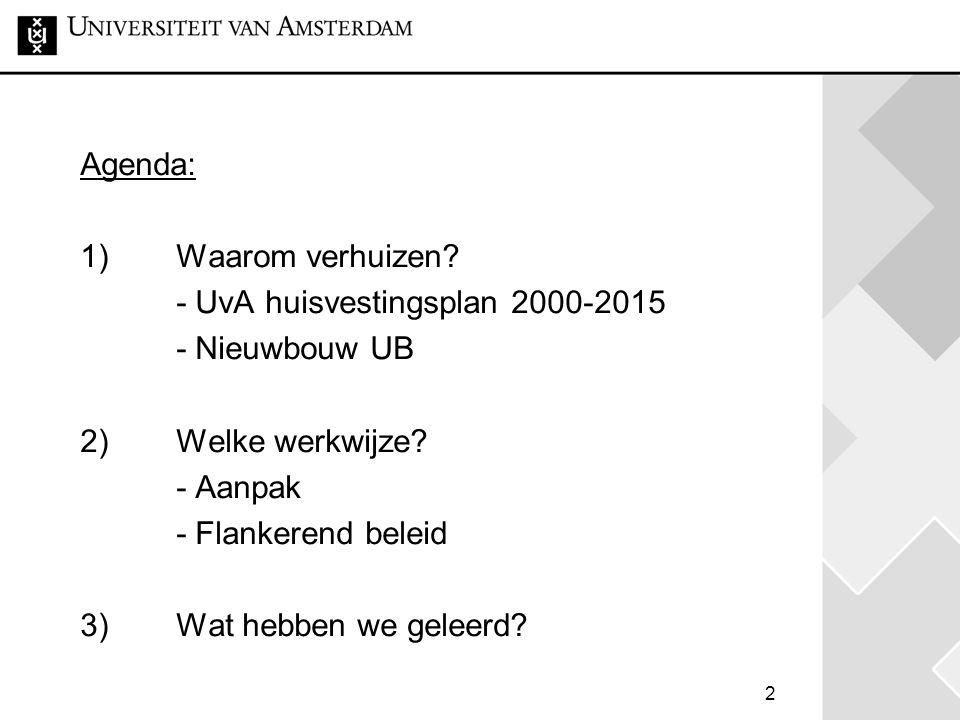 Agenda: 1) Waarom verhuizen - UvA huisvestingsplan 2000-2015. - Nieuwbouw UB. 2) Welke werkwijze
