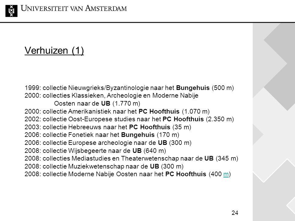 Verhuizen (1) 1999: collectie Nieuwgrieks/Byzantinologie naar het Bungehuis (500 m) 2000: collecties Klassieken, Archeologie en Moderne Nabije Oosten naar de UB (1.770 m) 2000: collectie Amerikanistiek naar het PC Hoofthuis (1.070 m) 2002: collectie Oost-Europese studies naar het PC Hoofthuis (2.350 m) 2003: collectie Hebreeuws naar het PC Hoofthuis (35 m) 2006: collectie Fonetiek naar het Bungehuis (170 m) 2006: collectie Europese archeologie naar de UB (300 m) 2008: collectie Wijsbegeerte naar de UB (640 m) 2008: collecties Mediastudies en Theaterwetenschap naar de UB (345 m) 2008: collectie Muziekwetenschap naar de UB (300 m) 2008: collectie Moderne Nabije Oosten naar het PC Hoofthuis (400 m)