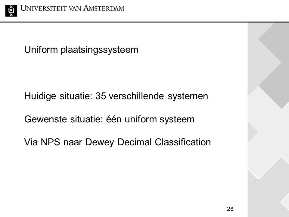 Uniform plaatsingssysteem Huidige situatie: 35 verschillende systemen Gewenste situatie: één uniform systeem Via NPS naar Dewey Decimal Classification