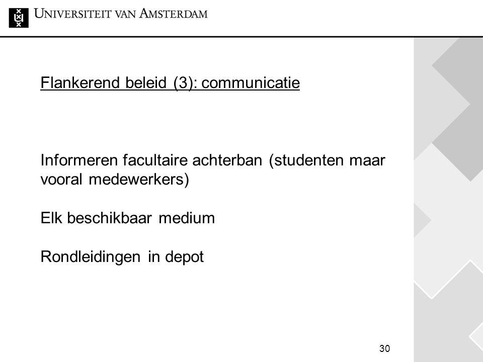 Flankerend beleid (3): communicatie Informeren facultaire achterban (studenten maar vooral medewerkers) Elk beschikbaar medium Rondleidingen in depot