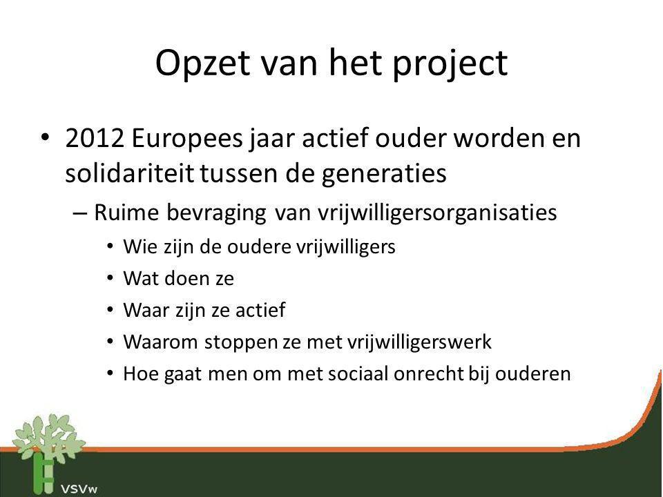 Opzet van het project 2012 Europees jaar actief ouder worden en solidariteit tussen de generaties. Ruime bevraging van vrijwilligersorganisaties.
