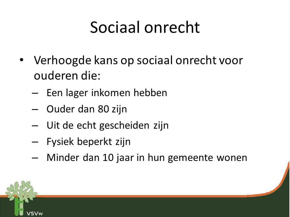 Sociaal onrecht Verhoogde kans op sociaal onrecht voor ouderen die: