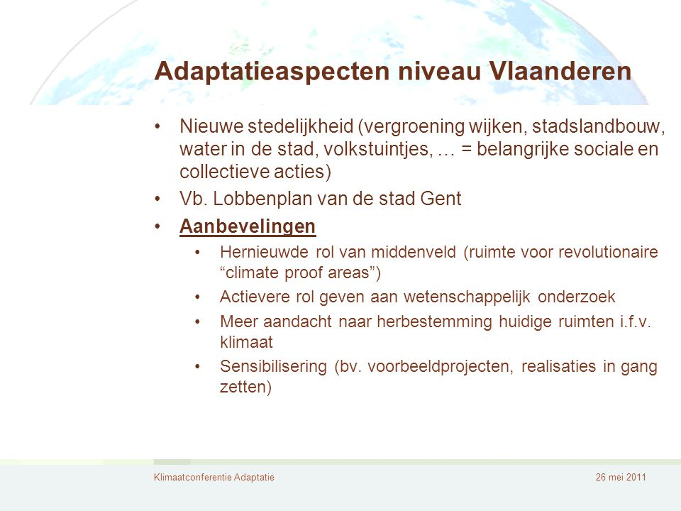 Adaptatieaspecten niveau Vlaanderen