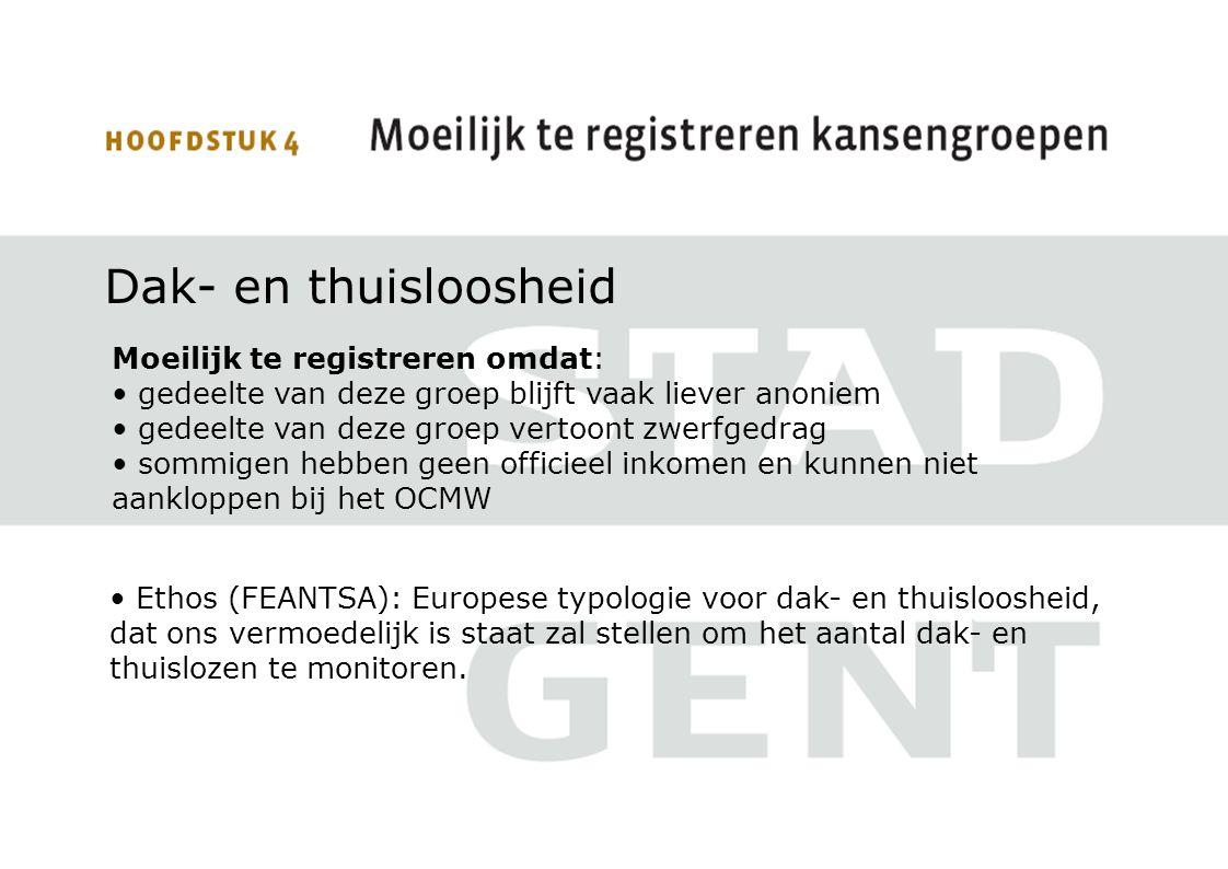 Dak- en thuisloosheid Moeilijk te registreren omdat: