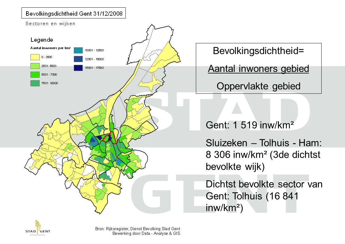 Bevolkingsdichtheid= Aantal inwoners gebied Oppervlakte gebied