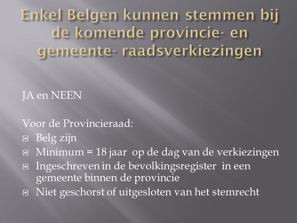 Enkel Belgen kunnen stemmen bij de komende provincie- en gemeente- raadsverkiezingen