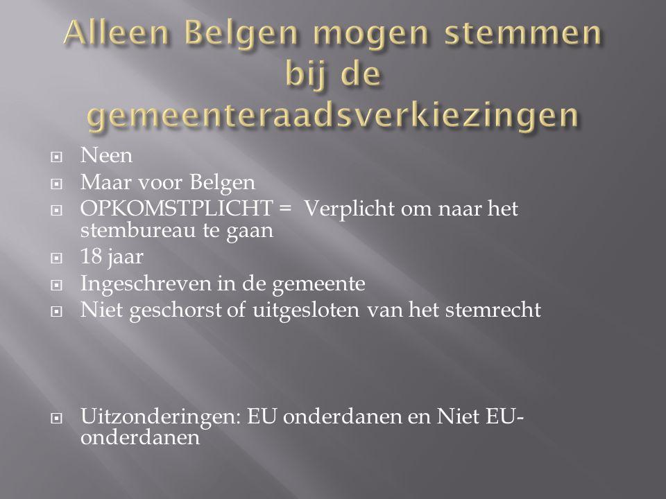 Alleen Belgen mogen stemmen bij de gemeenteraadsverkiezingen