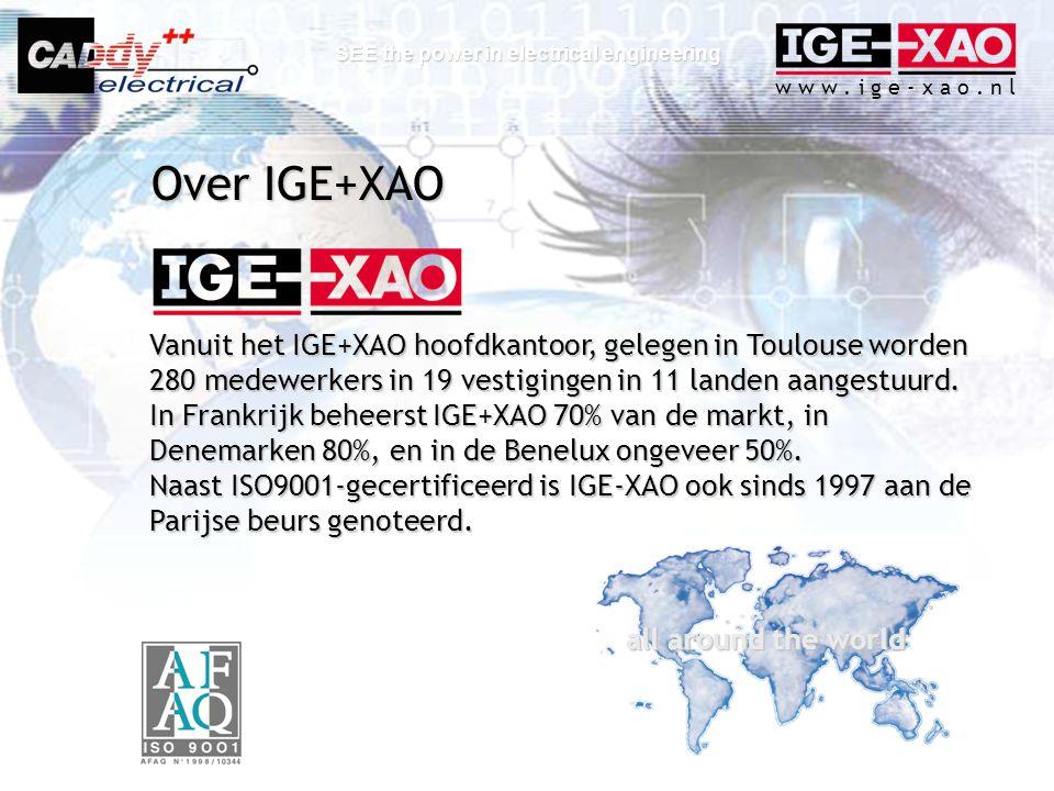 Over IGE+XAO Vanuit het IGE+XAO hoofdkantoor, gelegen in Toulouse worden 280 medewerkers in 19 vestigingen in 11 landen aangestuurd.