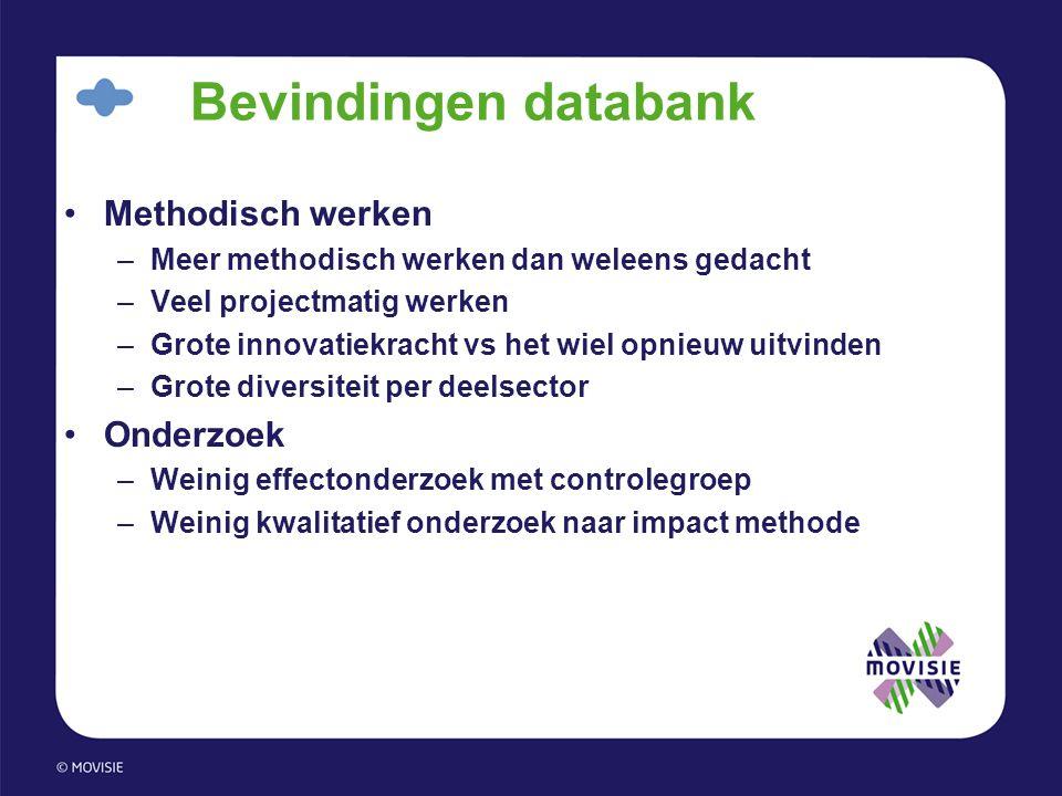 Bevindingen databank Methodisch werken Onderzoek