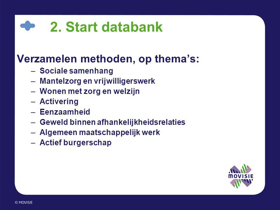 2. Start databank Verzamelen methoden, op thema's: Sociale samenhang