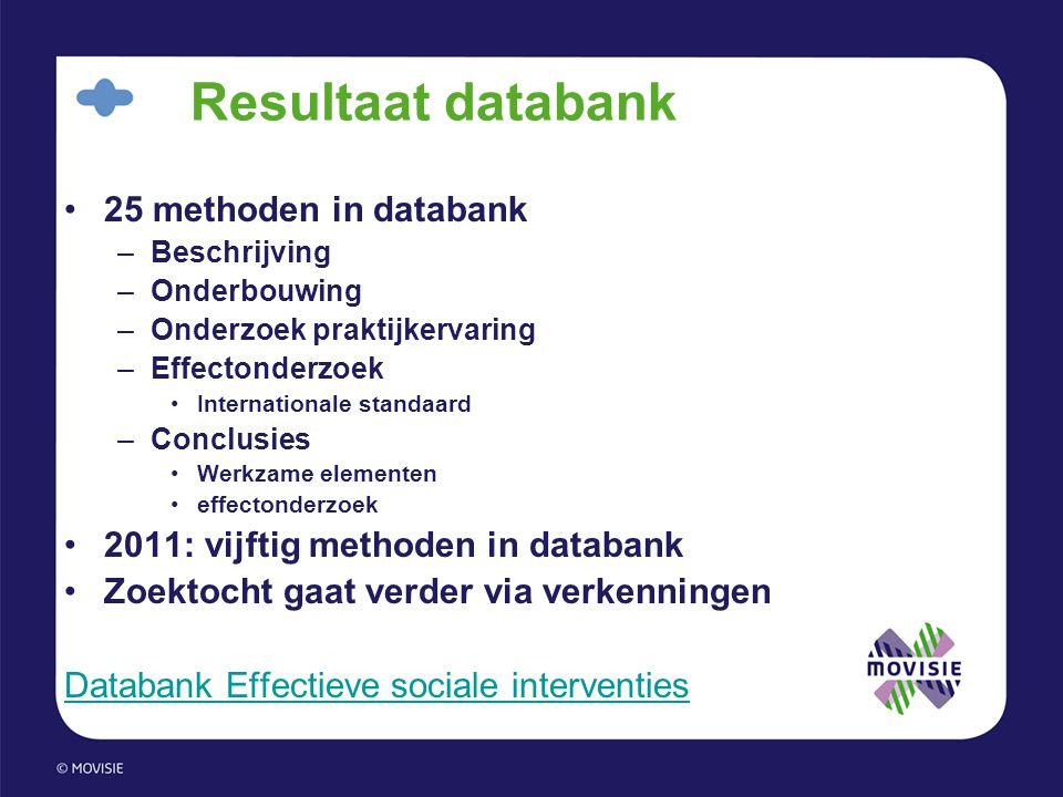 Resultaat databank 25 methoden in databank
