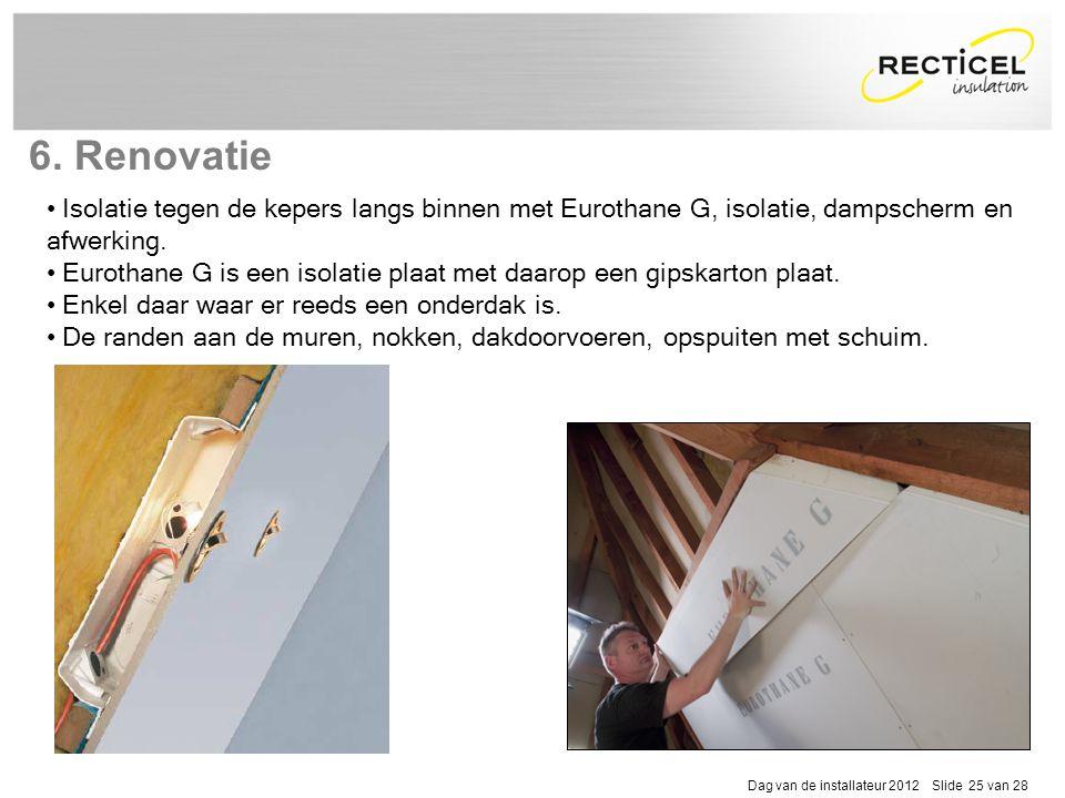 6. Renovatie Isolatie tegen de kepers langs binnen met Eurothane G, isolatie, dampscherm en afwerking.