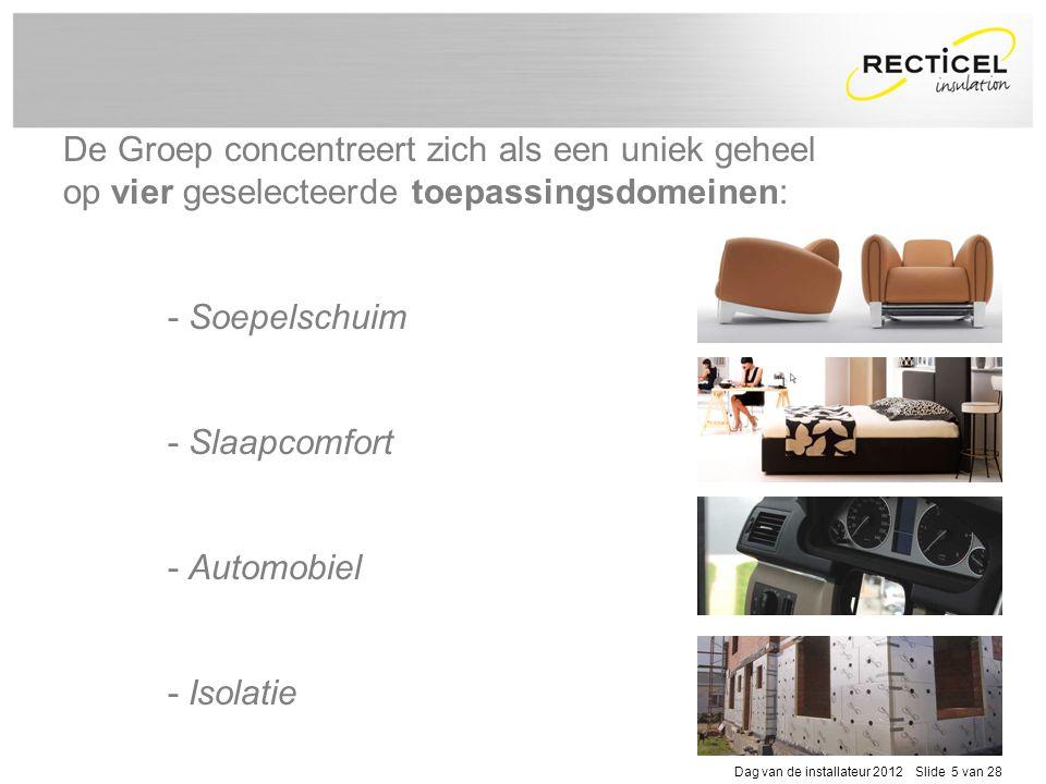 De Groep concentreert zich als een uniek geheel op vier geselecteerde toepassingsdomeinen: