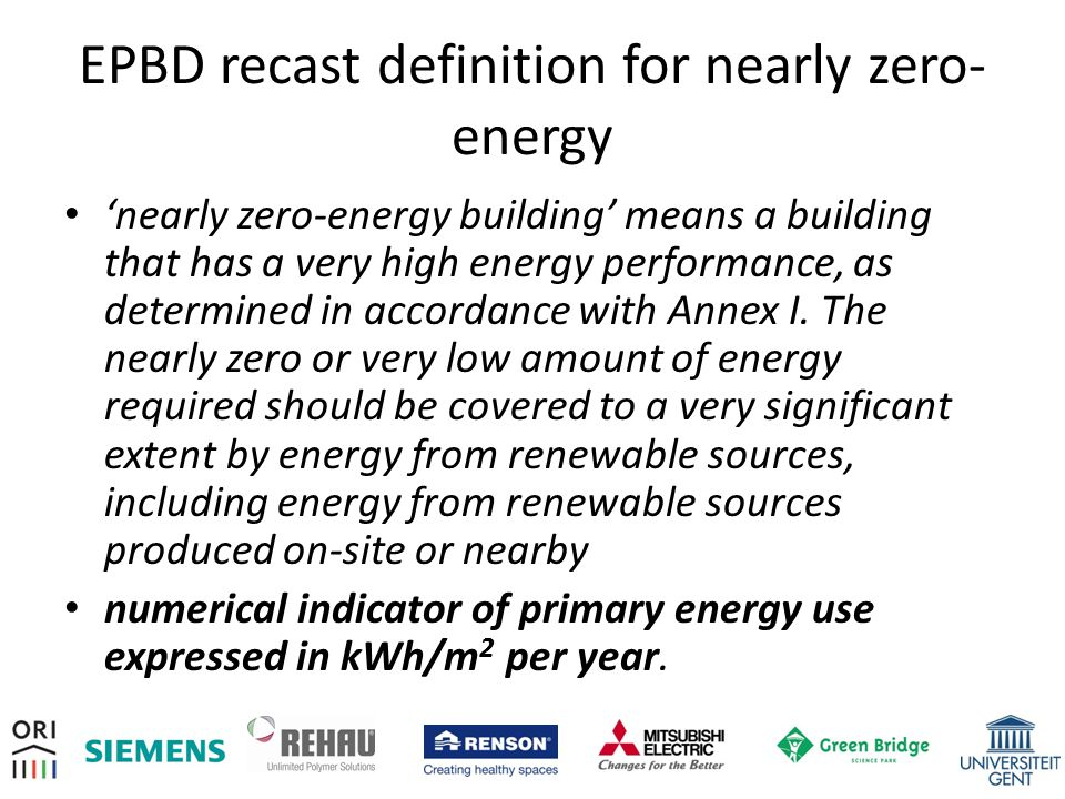 EPBD recast definition for nearly zero-energy