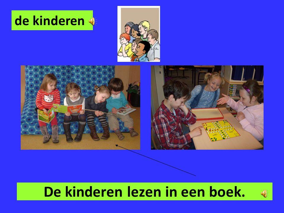 De kinderen lezen in een boek.