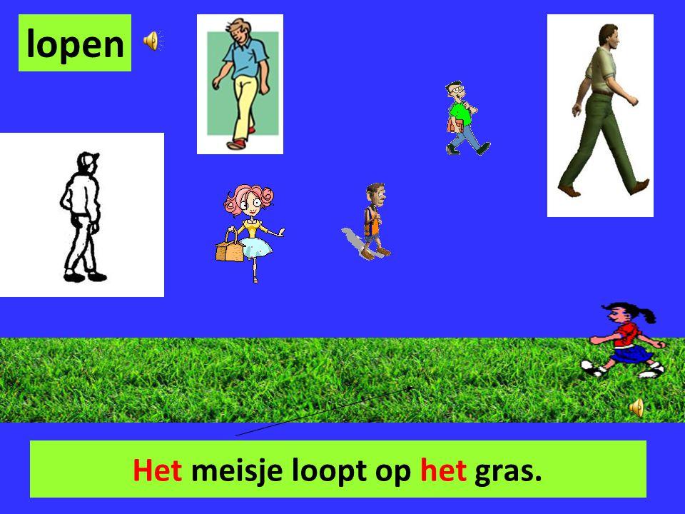 Het meisje loopt op het gras.