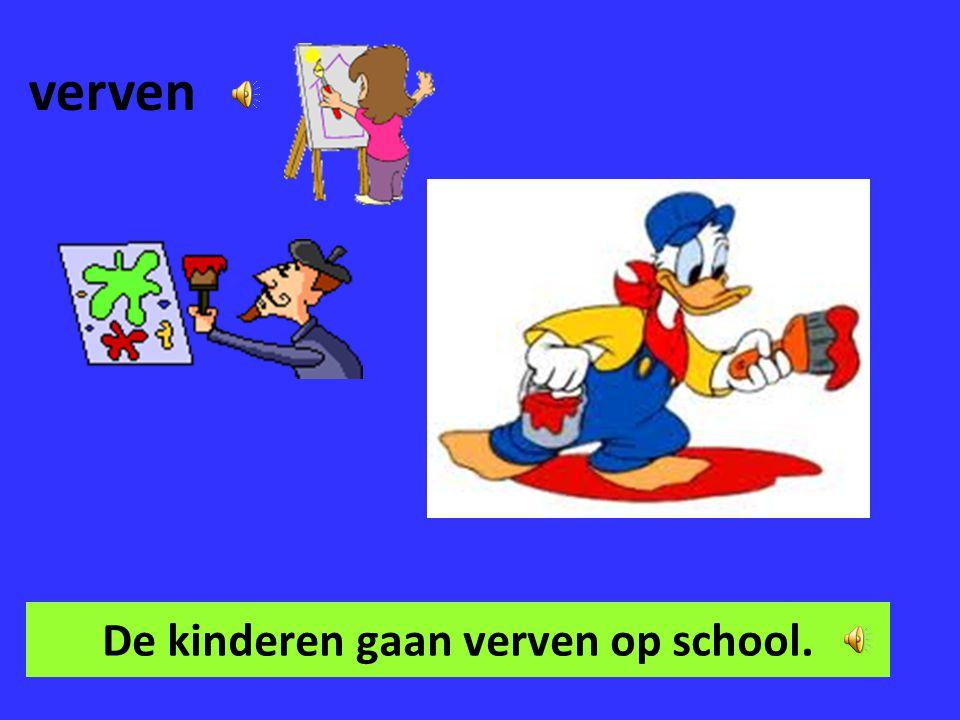 De kinderen gaan verven op school.