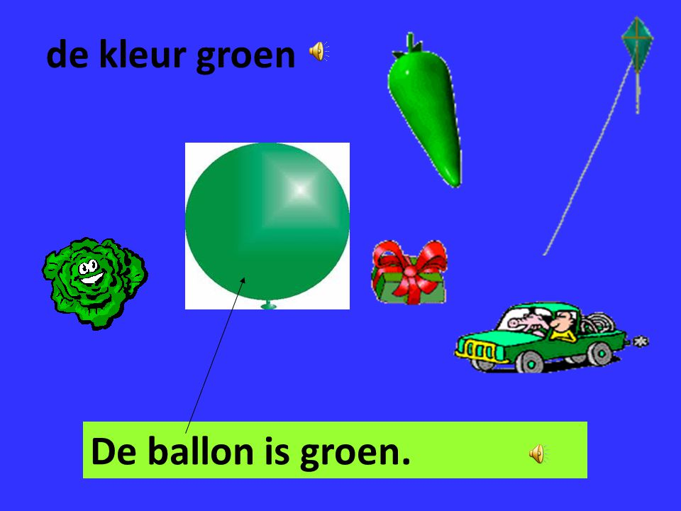 de kleur groen De ballon is groen.