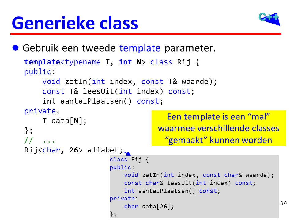 OGOPRG 3 april Generieke class Rij. template<typename T, int N> void Rij<T, N>::zetIn(int index,