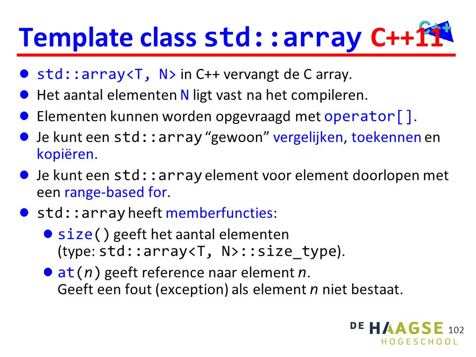 Template class std::array C++11