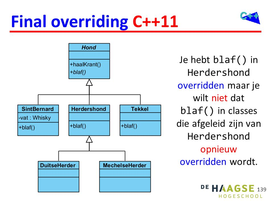 Final overriding C++11 class Herdershond: public Hond { public: virtual void blaf() final; // ...