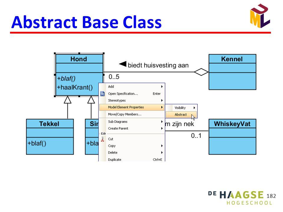 ABC wordt in UML cursief weergegeven.