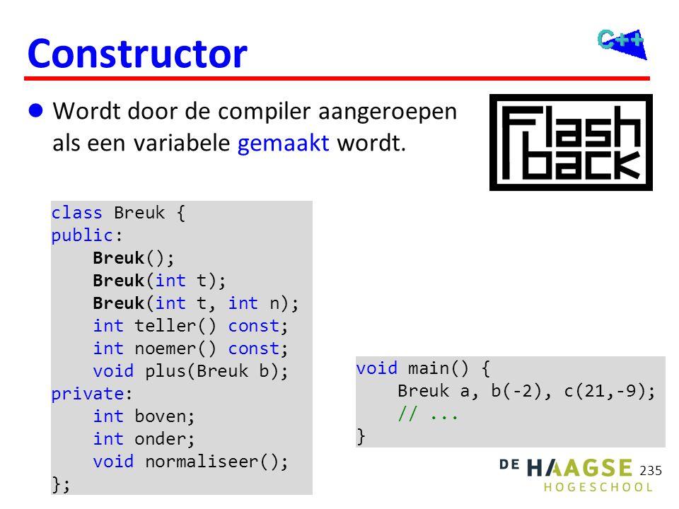 OGOPRG 3 april 2017. Destructor. Wordt door de compiler aangeroepen als een variabele verwijderd wordt.