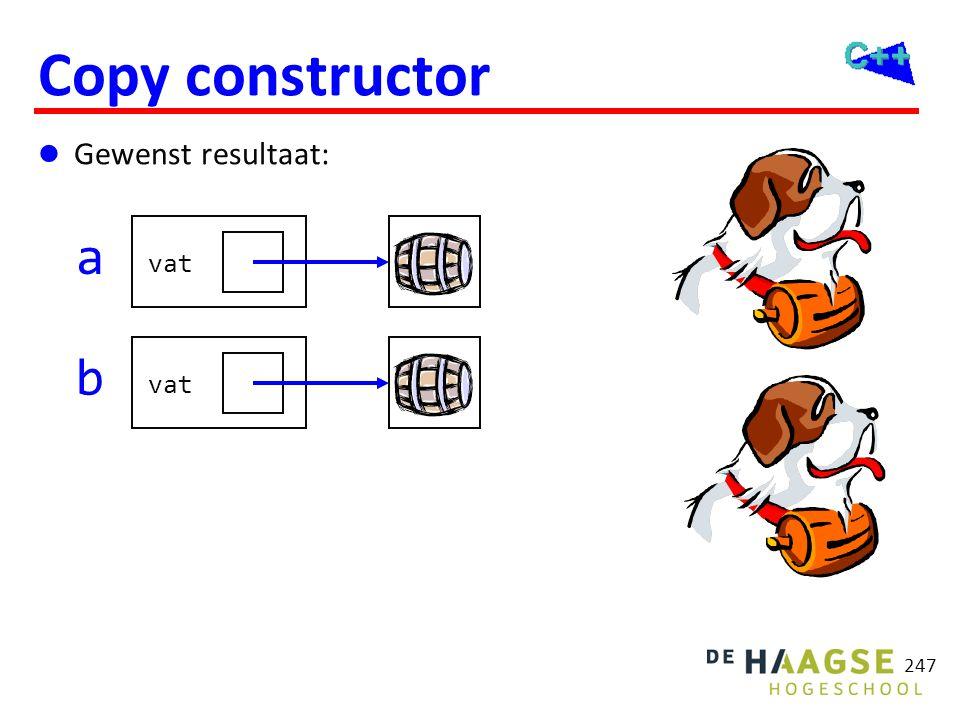 OGOPRG 3 april 2017. Copy constructor. SintBernard::SintBernard(const SintBernard& r): Hond(r), vat(0) {
