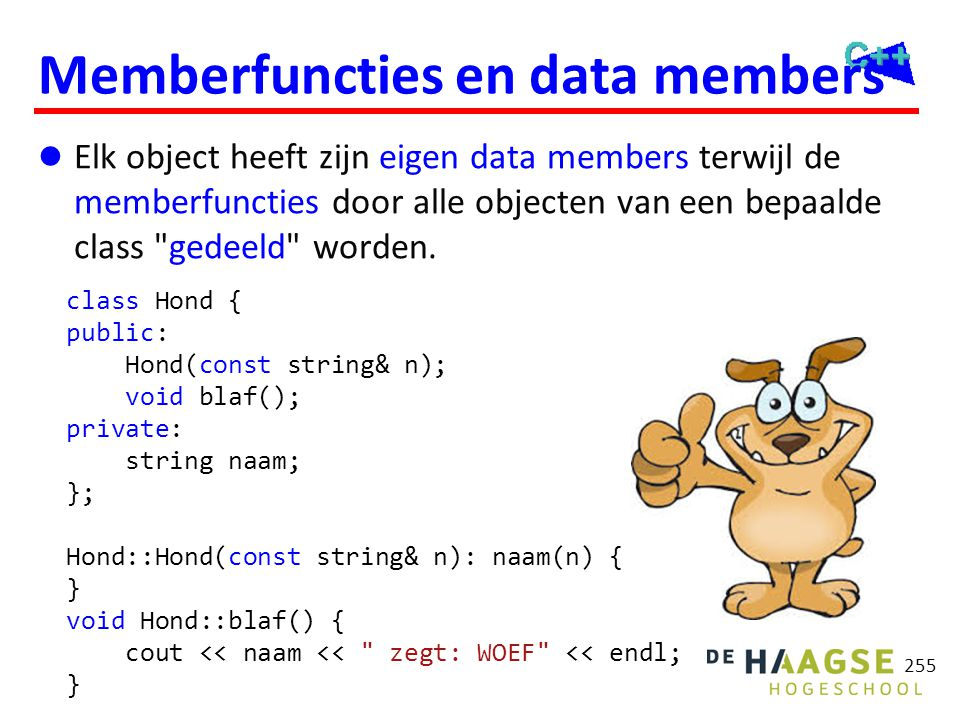 Memberfuncties en data members