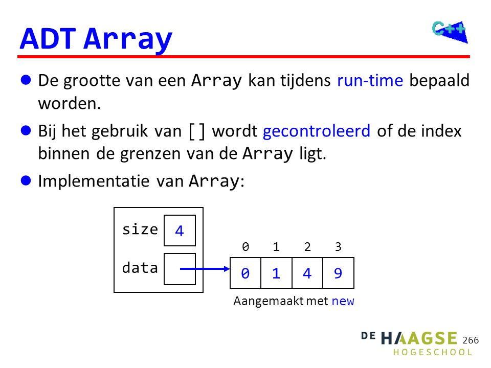 ADT Array class Array { public: explicit Array(int s);