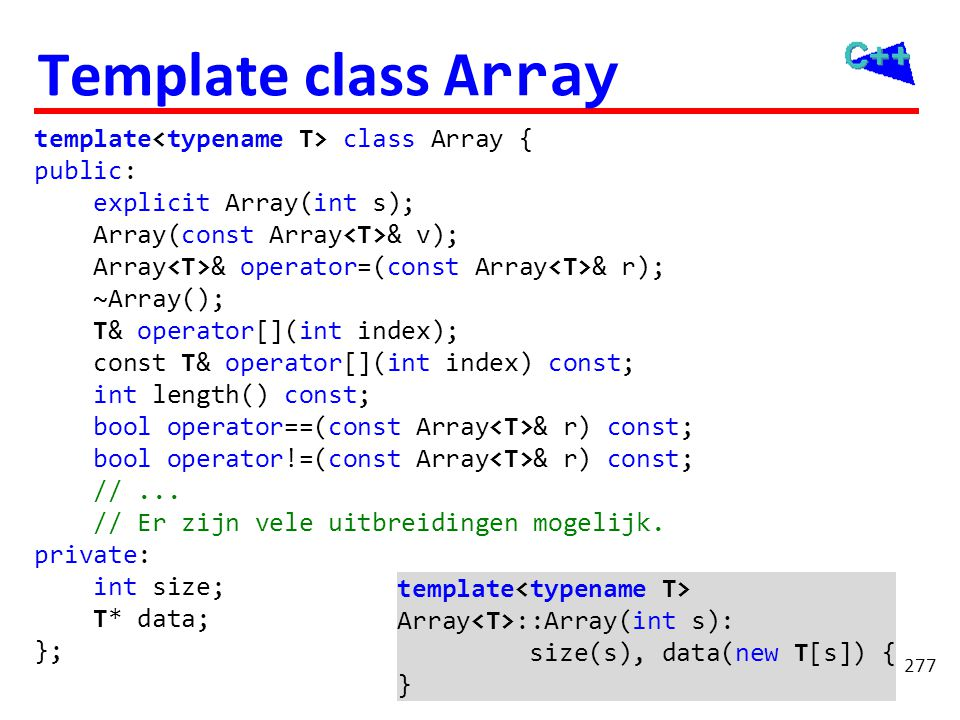 Template class Array // ... int i;