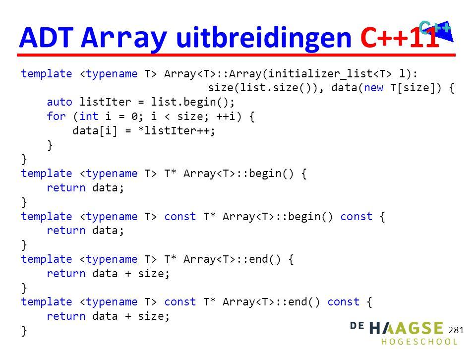 ADT Array uitbreidingen C++11
