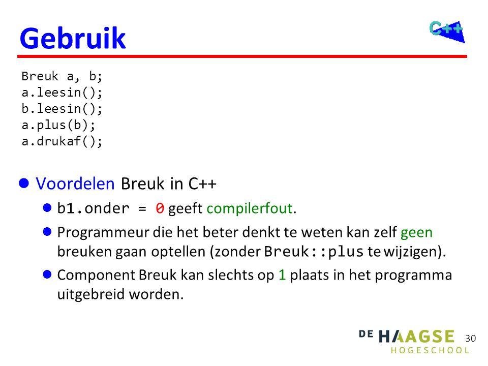 Eigenschappen van C++ Breuk