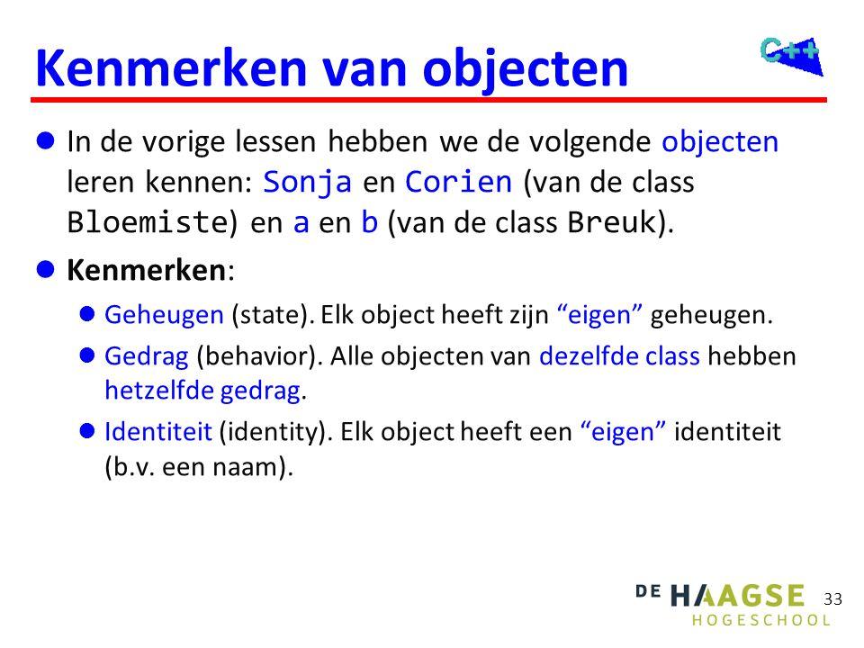 Class Breuk (versie 1) class Breuk { Data members public: