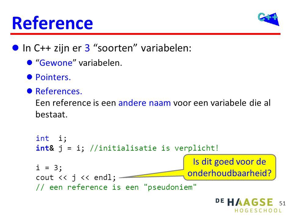 Gebruik reference Je kunt een reference gebruiken als: