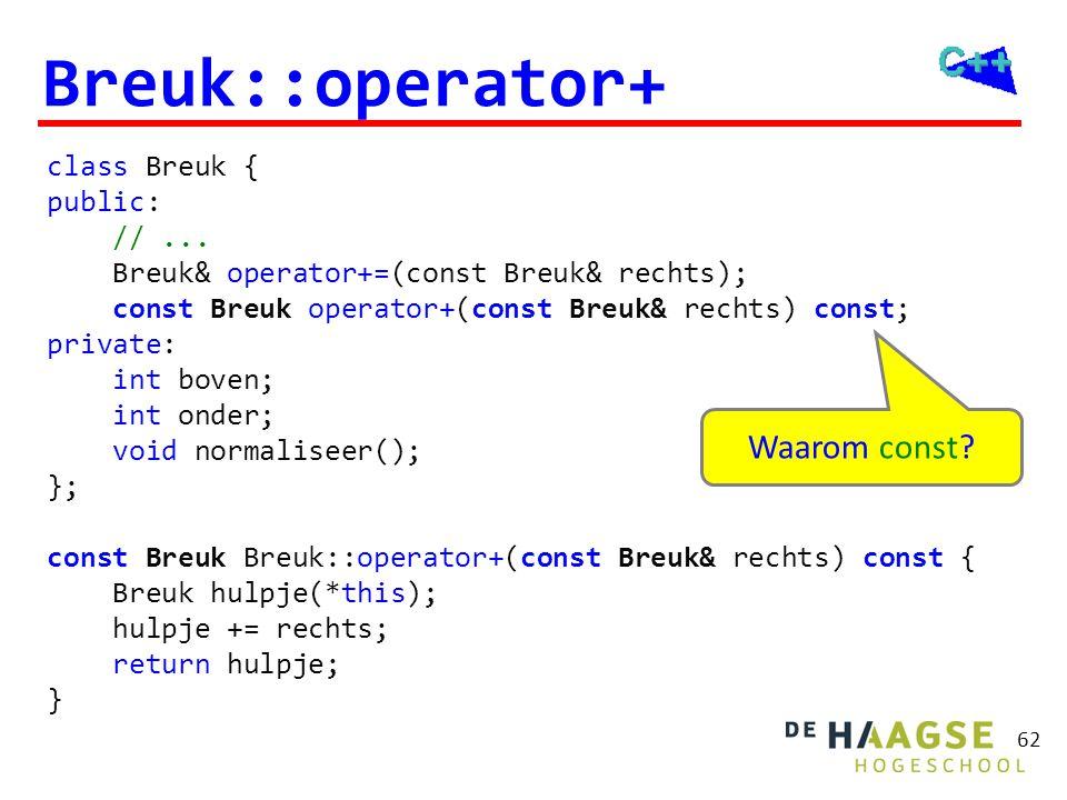 Breuk::operator+ De volgende implementaties zijn niet juist!