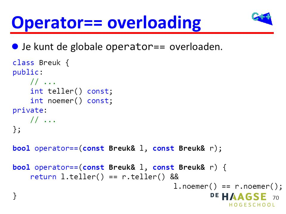 Breuk::operator== Waarom is de volgende implementatie niet juist!